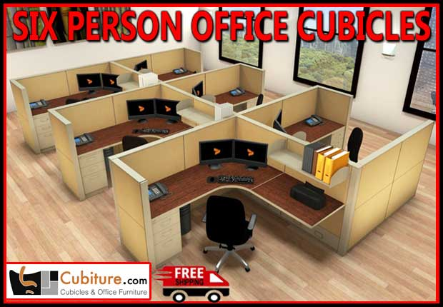 Discount Commercial 6 Person Office Cubicles For Sale Manufacturer Direct Pricing With fREE Shipping - Made In USA