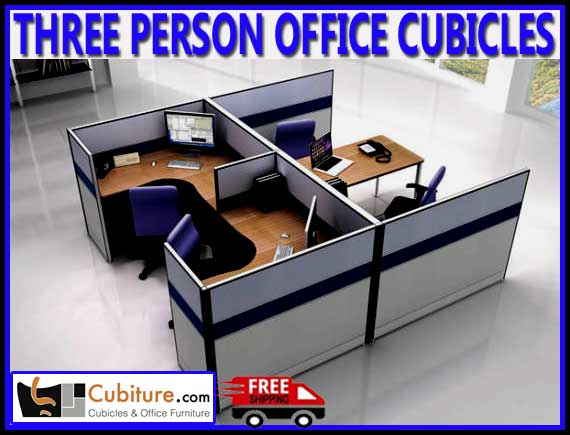 Commercial Three Person Office Cubicles For Sale Manufacturer Direct Guarantees Lowest Price Wit FREE Shipping - Made In USA
